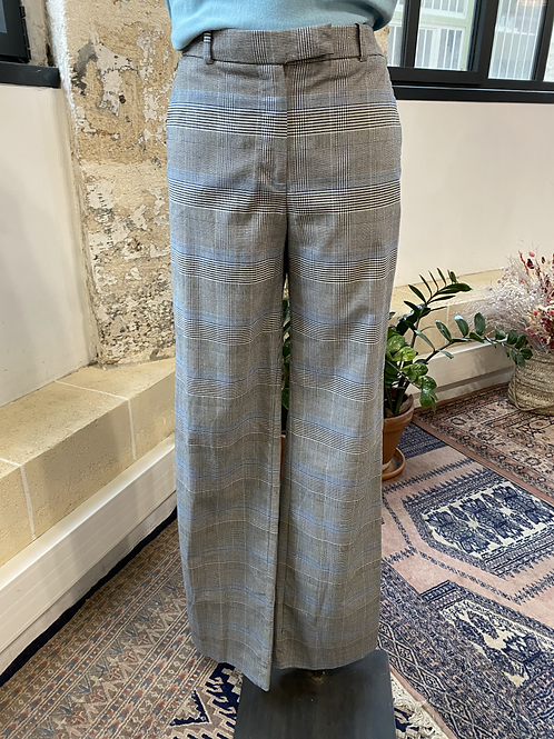 MANGO - Pantalon à carreaux liserés bleus - T.38