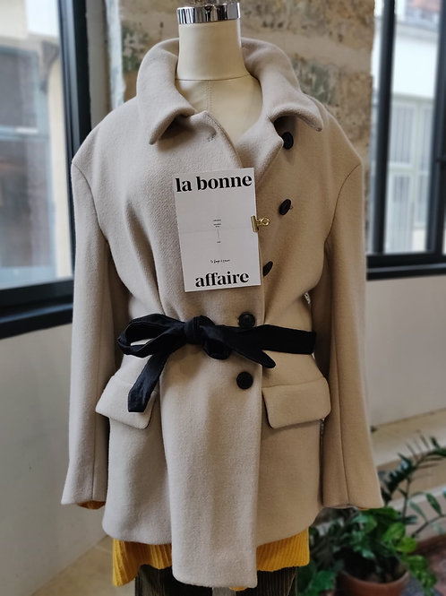 DRIES VAN NOTEN - Manteau court beige ceinture noire - T.40
