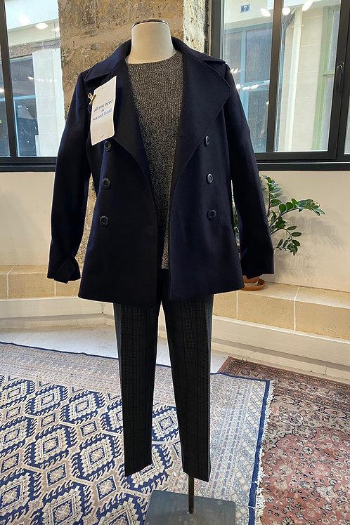 INES DE LA FRESSANGE - Manteau caban en laine bleu marine - T.38