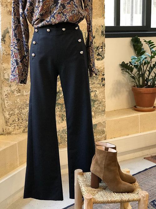 CLAUDIE PIERLOT - Pantalon large bleu marine et boutons taille - T.40