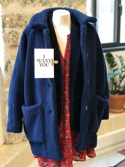 AMERICAN VINTAGE - Manteau court bleu en moumoute - TXS