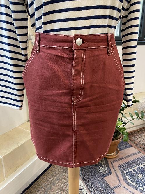 H&M - Jupe bordeaux courte en jean - T.42