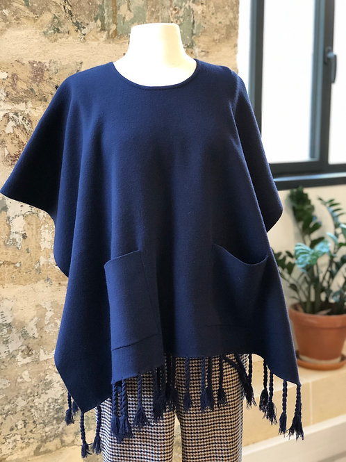 SUNCOO - Pull poncho bleu à franges - T.U