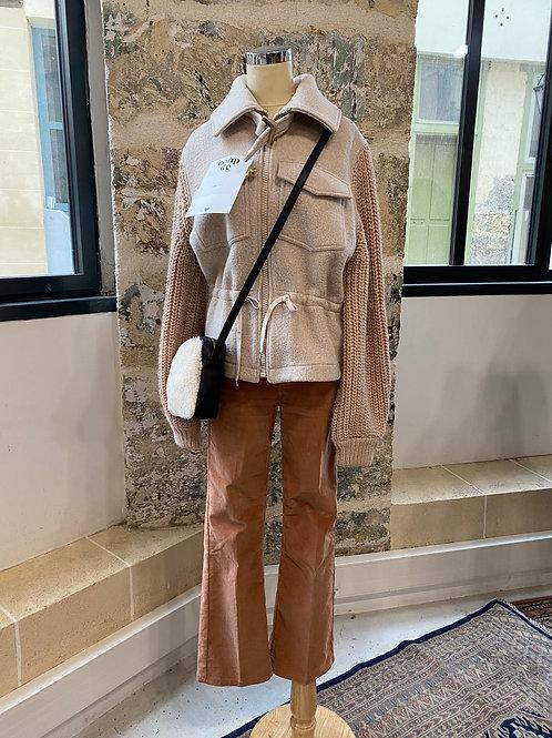 BA&SH - Manteau beige en laine et maille - T1