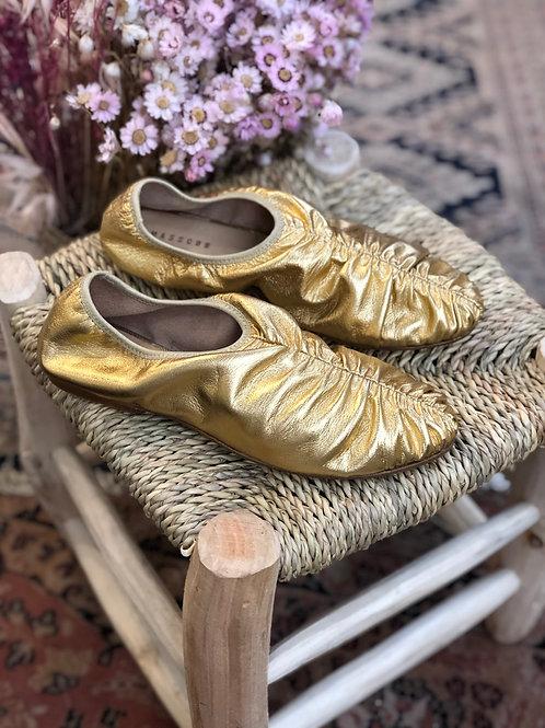 MASSCOB - Ballerines dorées en cuir - T38