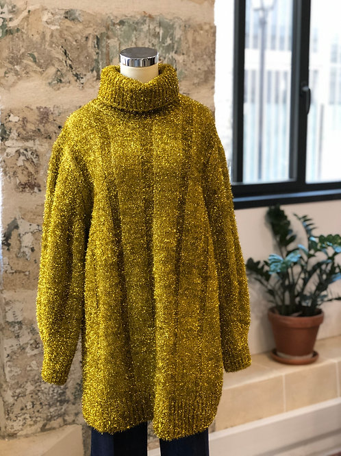 H&M - Pull long jaune en lurex col roulé - T.S