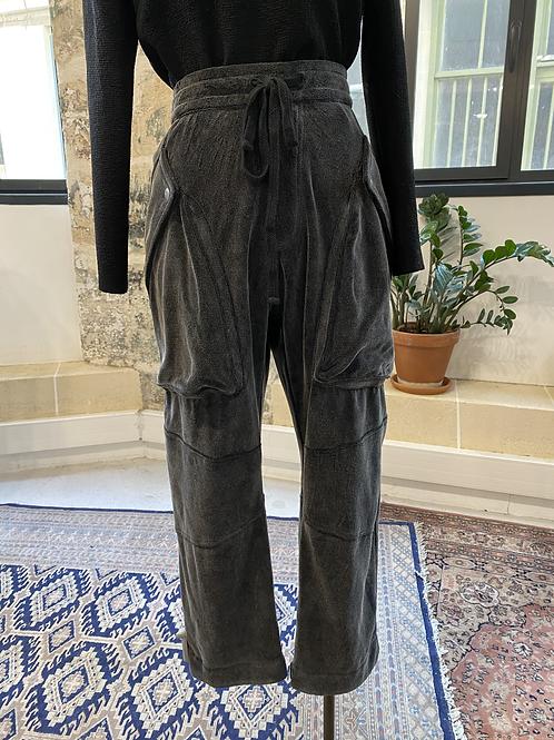 THE KOOPLES - Pantalon façon jogging en velours gris foncé - T.3