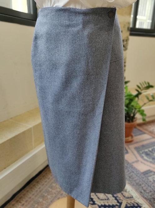 COS - Jupe midi bleu gris et laine drappée - T.38
