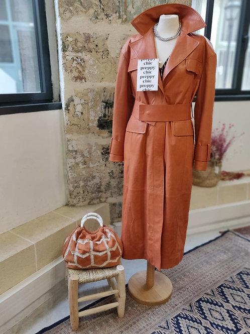 DROMe - Manteau long terracotta en cuir - TS