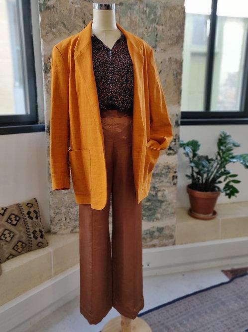 SESSUN - Veste blazer orange en lin et coton - TS