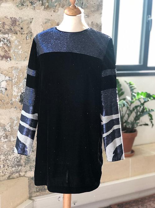 H&M STUDIO - Robe bleu marine en velours et sequins - T.34