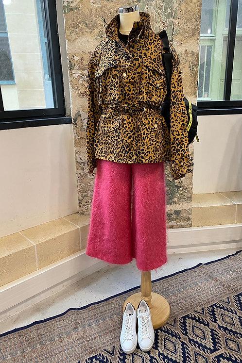 AMERICAN RETRO - Pantalon rose en mohair et laine - T36