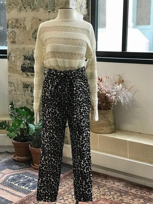 VALENTINE GAUTHIER - Pantalon écru léopard -T.0