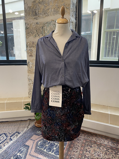 SACRECOEUR - Chemise bleue chinée épaules plissées - T.S