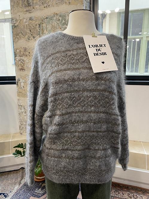 MAISON ANJE - Pull gris rayé lurex en superkid mohair