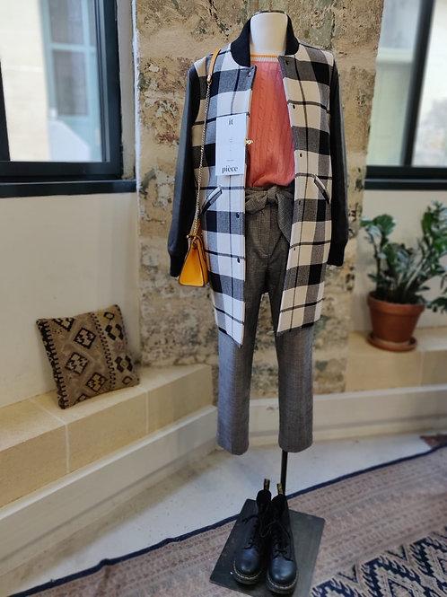 SANDRO PARIS - Manteau teddy noir et blanc à carreaux - T38