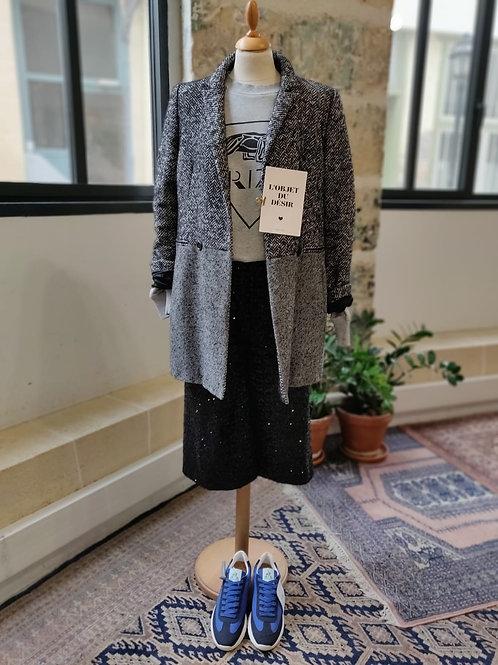 CAROLL - Manteau noir et blanc chevron - T.40