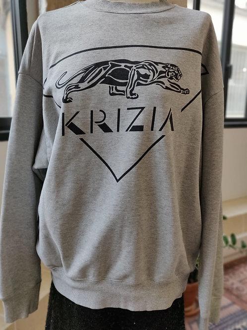 KRIZIA - Sweat gris imprimé tigre - T.38
