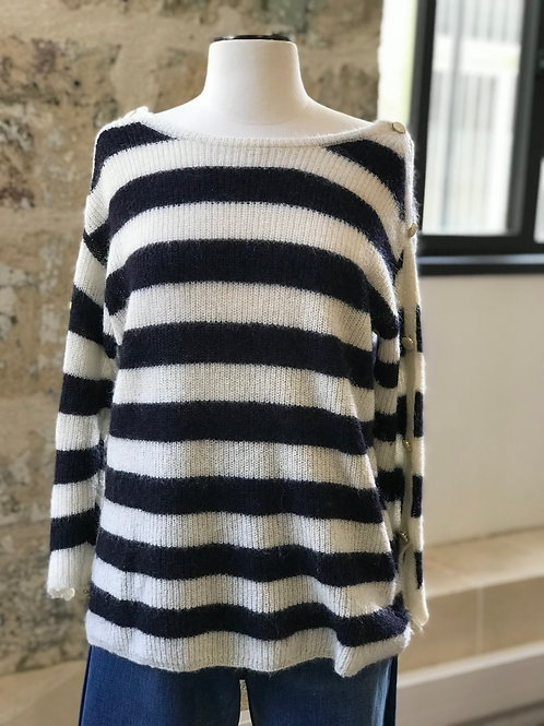 SEZANE - Pull marinière bleu et blanc en mohair boutonné - T.M
