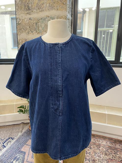 COS - Top bleu brut en jean manches courtes - T.40