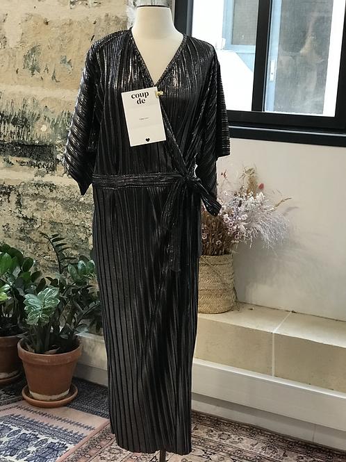 TANJABAZAR - Robe portefeuille longue lurex - T.40