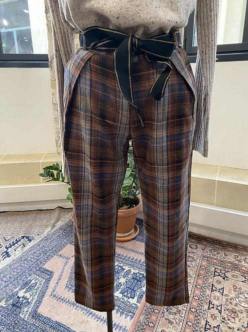 JOHANNA - Pantalon à carreaux marron/gris avec ceinture - T.S
