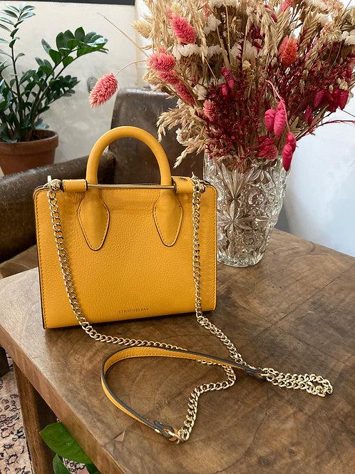 STRATHBERRY - Sac jaune en cuir bande métal