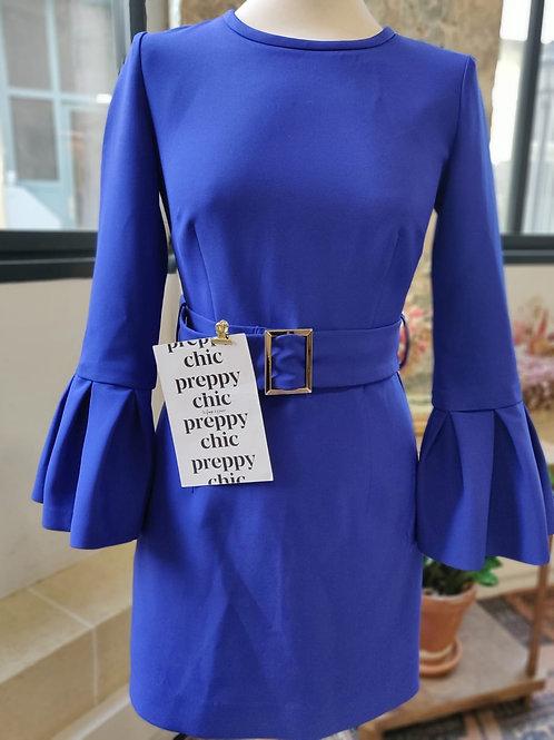 PAROSH - Robe bleue klein ceinture taille - T.S