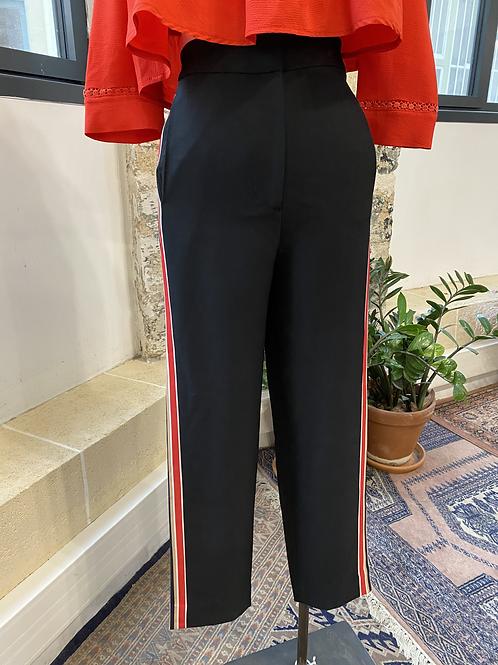 & OTHER STORIES - Pantalon noir bandes beiges et rouges - T.32