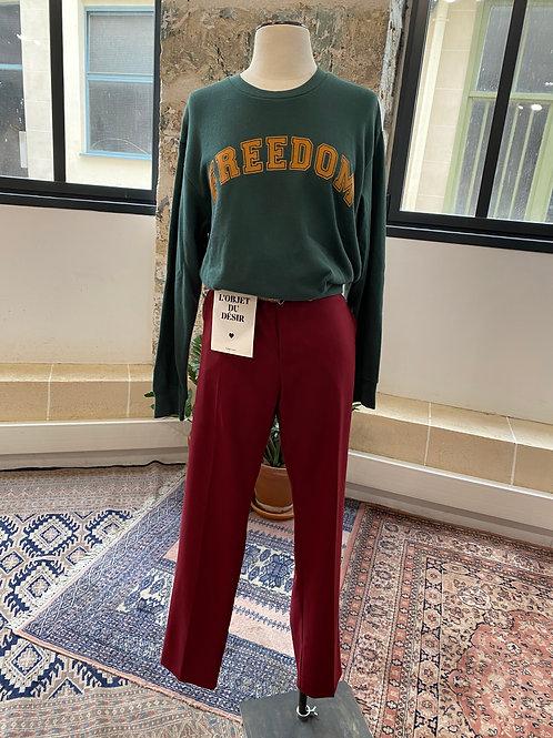 HOD - Pantalon bordeaux à pinces avec ceinture lurex - T.31