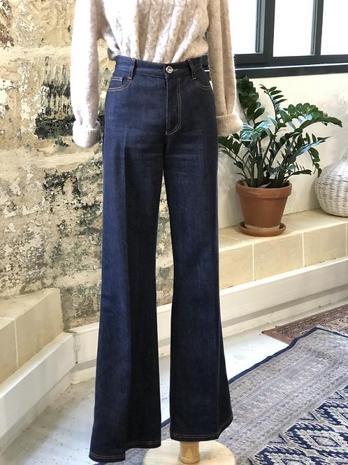 FENDI - Jean bleu brut brodé poche - T.40