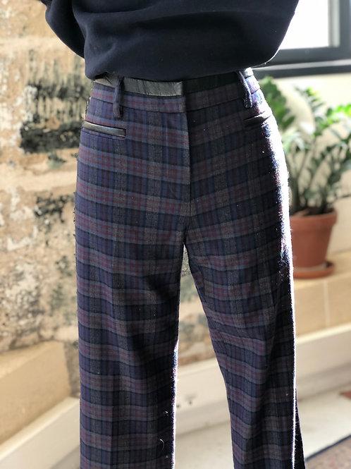 GERARD DAREL - Pantalon bleu et gris à carreaux à pinces - T.38