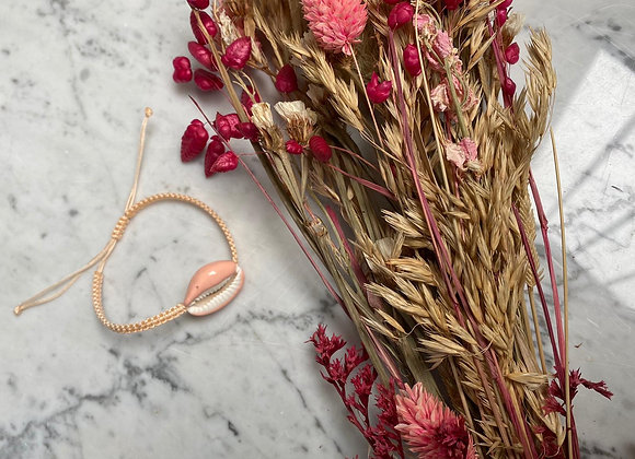 *** - Bracelet rose coquillage