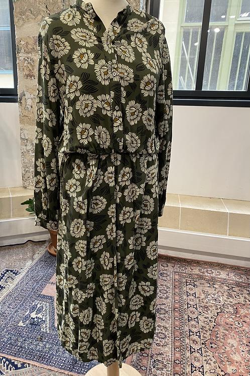 HARTFORD - Robe longue kaki imprimés fleurs écrues