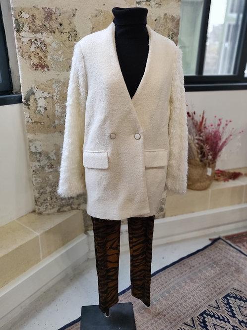 ZARA - Veste blazer écrue en laine - TS