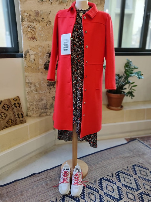 COURREGES - Manteau rouge mi long en laine - T40