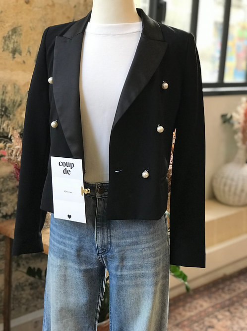 CLAUDIE PIERLOT - Veste blazer noire perles et col satin - T.36