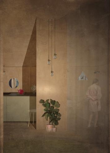 vista interior - cozinha e wc
