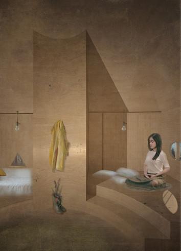 vista interior - espaço de descanso e espaço de meditação