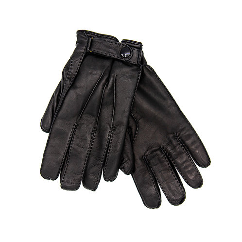 Snap Detail Leather Gloves