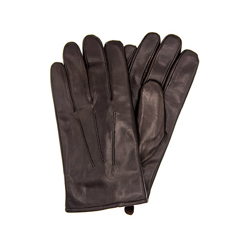 Fur-Lined Brown Leather Gloves
