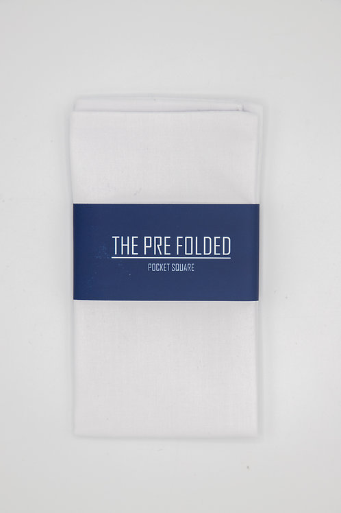 Pre Folded Pocket Square - White