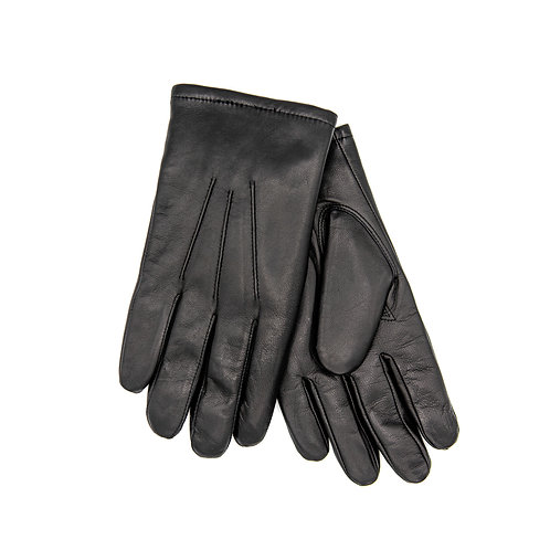 Fur-Lined Black Leather Gloves