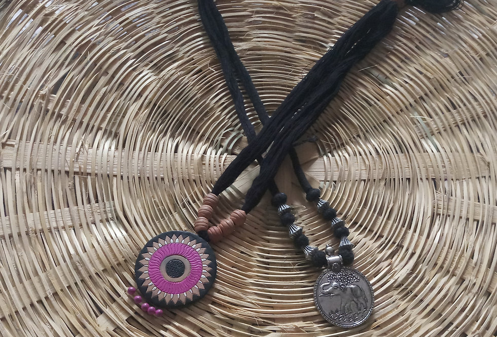 Black Colour Handcrafted Thread Neck