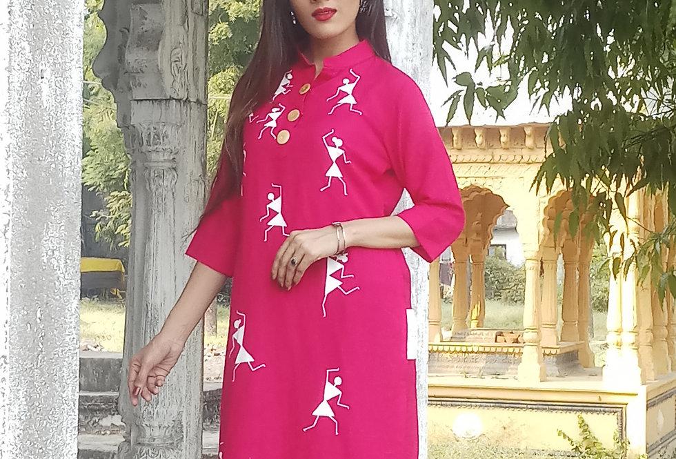 Magenta Pink Warli Print Women's Kurti