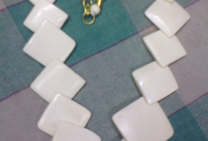 Off White Colour Handcrafted Thread Necklace