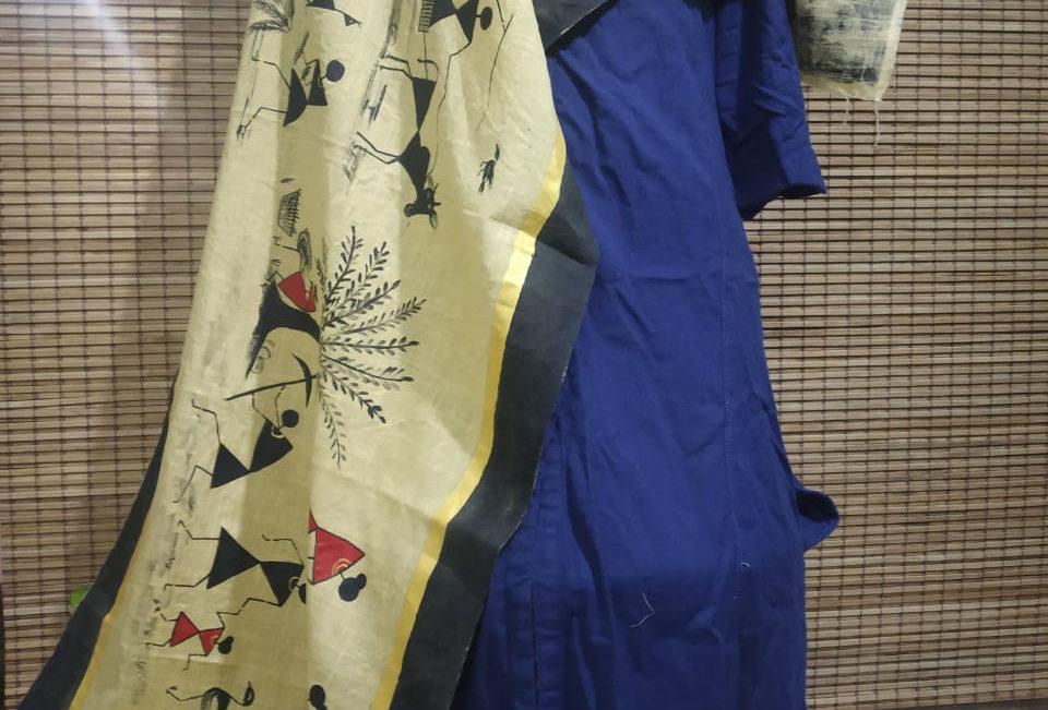Blue Kurti with Jute Colour Stole