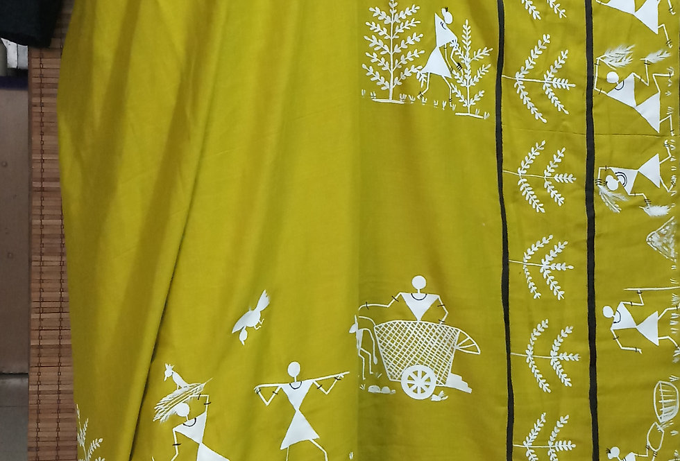 Lime Green Warli Print Saree