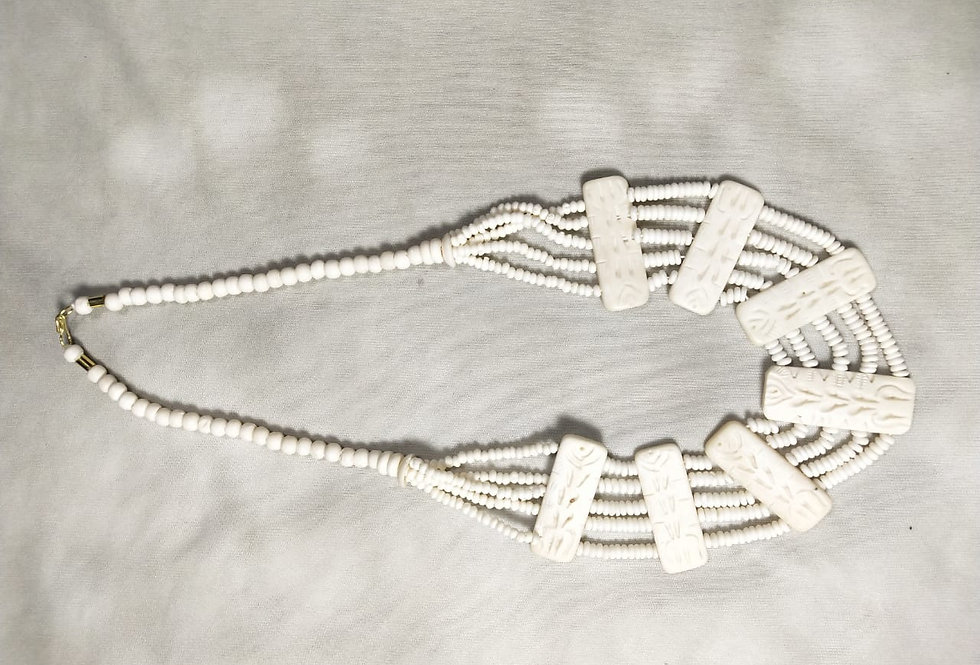 White Colour Multi Threaded Handcrafted Thread Necklace