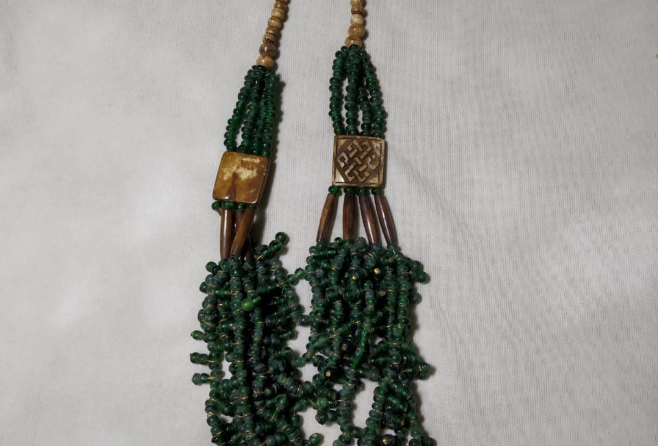 Green Colour Multi Threaded Handcrafted Thread Necklace
